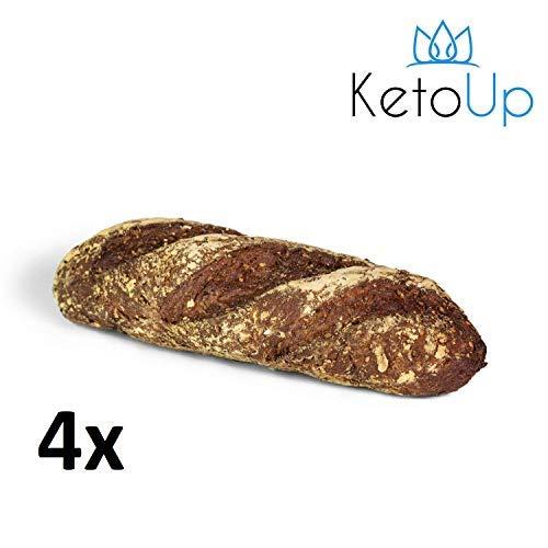 KetoUp: 4 frische Low Carb Röstzwiebelbaguettes | Ketogene und Low Carb Ernährung | maximal 3% Kohlenhydrate - 4 x 320g | Versandkostenfreie Lieferung in Deutschland ab Bestellwert von 25€ (Diät Frische Lieferung)
