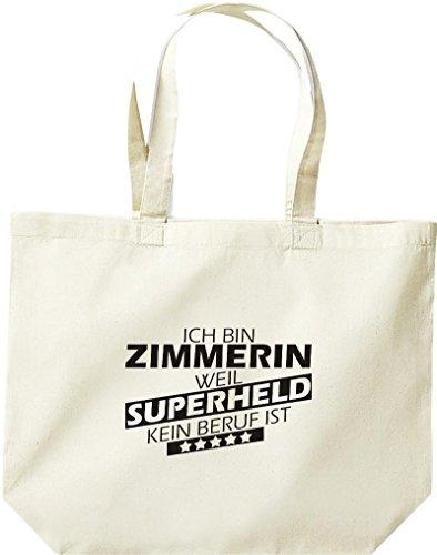 Shirtstown große Einkaufstasche, Ich bin Zimmerin, weil Superheld kein Beruf ist, natur