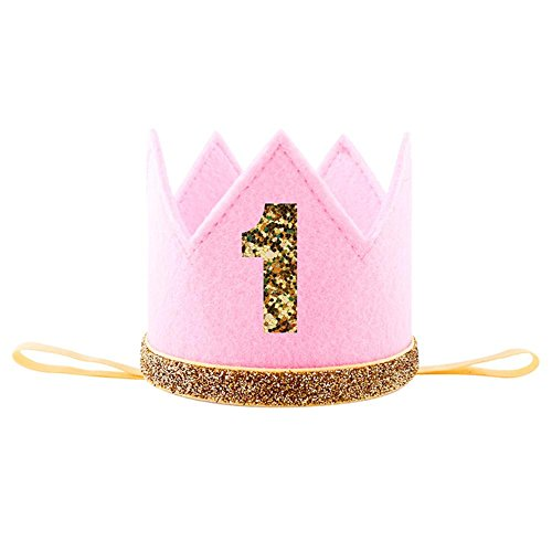 Adminitto88 Geburtstag Party Krone glänzend mit Prinzessin König Party Krone Hut Kuchen Smash Zubehör Foto für 1. Geburtstag 2 Geburtstag 3 RD Geburtstag Rosa (Baby Bling Stirnband Rosa)