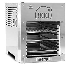 intergrill 800° XL Hochleistungsgrill Oberhitzegrill Farbe Grau Edelstahl inkl. Grillrost Gastroschale Schutzschublade Griff Piezozündung (XL)