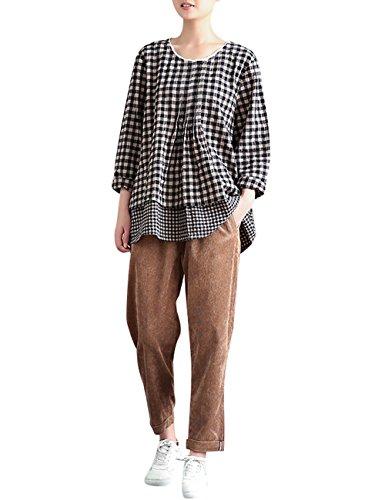 Youlee Donna Vita elastica Pantaloni di velluto a coste Pantaloni dritti Grigio