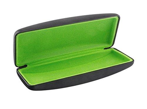 Edison & King Estuche para gafas con acabado metalizado y forro de terciopelo (negro metálico/verde manzana)