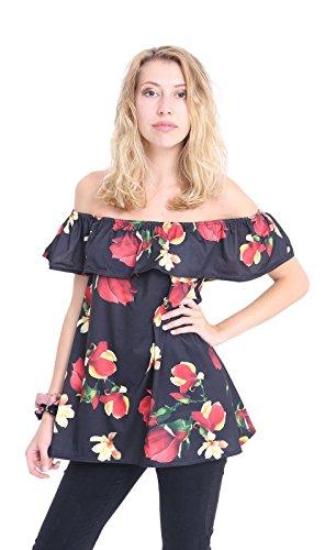 Momo&Ayat Fashions Mesdames Uni Floral Off Épaule Bardot Volants Volant Tshirt Haut EUR Taille 36-54 Floral noir