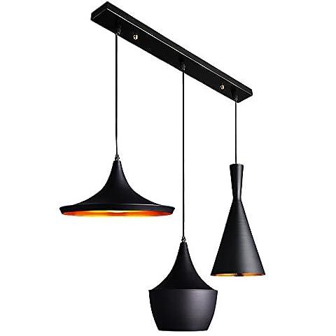 KunMai Modern Black 3-Light Pendant Lighting Fixture Multi Suspended Lighting (Rectangle Canopy)