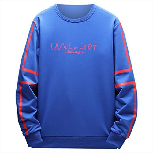 Xmiral Herren Sweatshirt Buchstabe Streifen Drucken Lange Ärmel Slim Fit Pullover mit Rundkragen Herbst Einfarbig Beiläufig Bluse Tops(Blau,L)