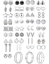 GUUTUUG Pares Surtidos de múltiples aretes de joyería Conjunto con Tarjeta para Mujeres niñas Simple aro Conjunto de Pendientes