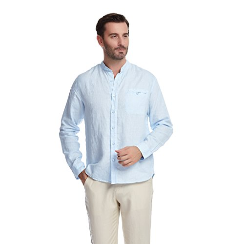 UAISI Herren Langarm 100% Leinen Hemd Freizeit Hemd mit Stehkragen (Leinen-button-down-shirt)