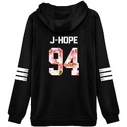 ShallGood Minetom Femme Automne Mode Tops Fans Sweats à Capuche à Manches Longues Varsity Rayé Encapuchonné Sweatshirt Décontractée Hooded Chemisiers Tops J-HOPE-94 Pink FR 40