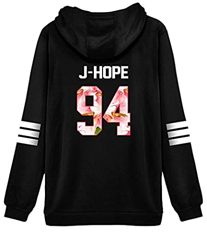 ShallGood Femme Automne Mode BTS Fans Sweats à Capuche à Manches Longues Varsity Rayé Encapuchonné Sweatshirt Décontractée Hooded Chemisiers Tops J-HOPE-94 Pink FR 46