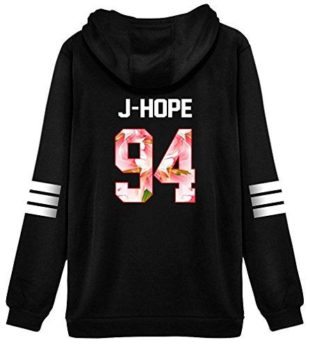 ShallGood Damen Mode BTS Druck Cropped Pullover Kapuzenpullover Crew Neck Langarm Kapuzenpullis Kapuze Sweatshirt Tops Bluse Kapuzen Jumper J-HOPE-94 Rosa DE 42 (Jersey Heavy Jacke)