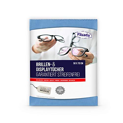 Filzada® 1x Brillenputztuch Microfaser in Optikerqualität - Extra groß in 50 x 70 cm - Reinigt Fussel- und Streifenfrei - auch fürs Objektiv, Display
