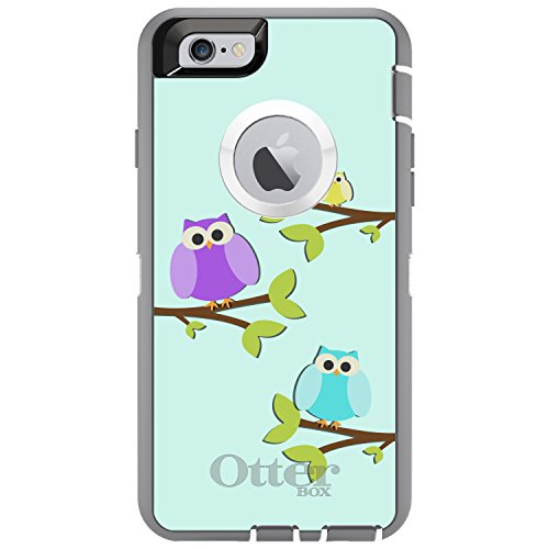 DistinctInk Distintink Fall für iPhone 6 / 6S (Not Plus) Otterbox Defender Blau, Lila, Gelb Eulen auf Grau-Weiß-Fall - 6 Blau Otterbox-fälle Iphone