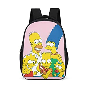 Mochila Escolar Unisex para niños The Simpsons, Mochila Infantil, diseño de Dibujos Animados, Color Rosa, para niños, niños y niñas, 3-12 Gris Gris Talla única