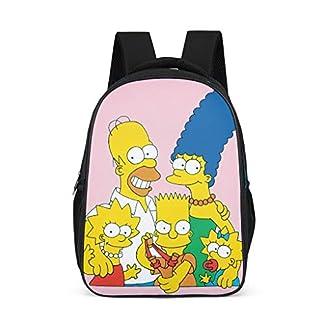 Mochila Escolar Unisex para niños The Simpsons, Mochila Infantil, diseño de Dibujos Animados, Color Rosa, para niños, niños y niñas, 3-12