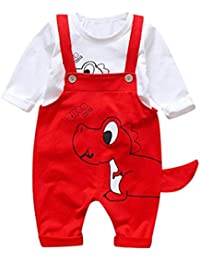 QinMM Camisa + Petos de Pantalones de Cartoon Lindo para bebé niño y niña, Manga Larga Camiseta Tops