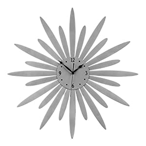 Premier Housewares Sunburst Design Wall Clock - Silver