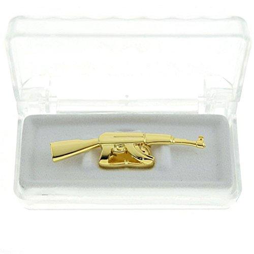 �berzogen Gewehr Hüfte Hopfen Zähne Grillz Kappen Oben Zähne (gold) (Einfache Fünf Minuten Kostüme)