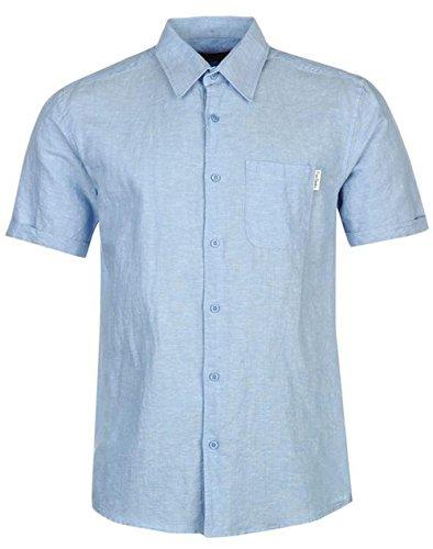 mens-everyday-short-sleeve-linen-shirt-top-large-light-blue