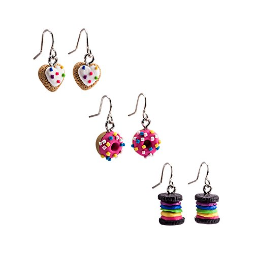 Drop Earrings for Girls – Beautiful Earrings for kids – Made of Polymer Clay – Children's earrings - 3 Pairs (Small size)