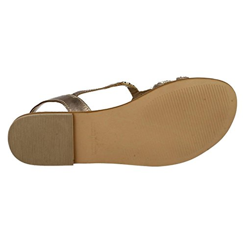 Spot en cuir pour Collection Glamour F0899 Sandales plates Or - doré