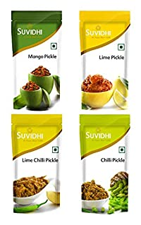 Suvidhi Mango Pickle, Lime Pickle, Lime Chilli Pickle & Chilli Pickle 200gm Each (Combo of 4)