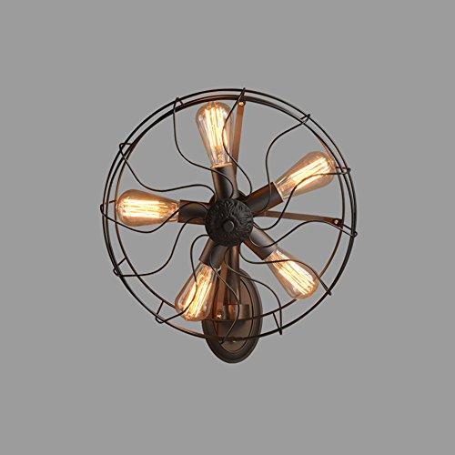 MTTK Retro 5 Luces de la lámpara de Pared Vintage Forjado Hierro Ventilador lámpara de Pared Restaurante...