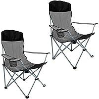 Campingstuhl Angelstuhl Anglerstuhl Faltstuhl mit Armlehne, Getränkehalter und hoher Rückenlehne, 2er Set, schwarz/grau