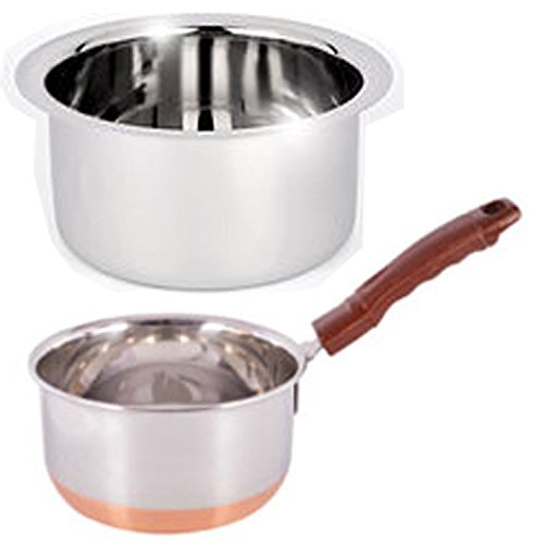 Jalpan Cookware Combo - Induction Tope 1 Liter - with - Sauce pan 1.5 Liter. Copper Bottom - Stainless Steel - Flat Bottom  available at amazon for Rs.390