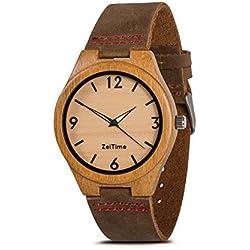 zeitime Madera Reloj de madera de bambú | Woody | 100% real de piel Armand | Producto natural | Hombre y Mujer Madera Reloj de pulsera