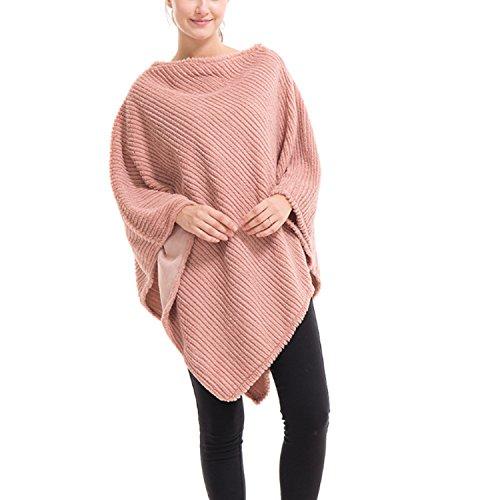 QQI Women Elegant Crochet Knit V Neck Oversized Poncho Cape Scialle Wrap lavorato a maglia maglione Rosa