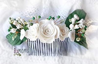 Fleur Hair Decoration Gardenias-Fleurs Porcelaine à froid-porcelaine Accessoires pour cheveux de mariée-peigne à cheveux
