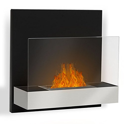 Tosno–Brushed Stainless Steel, Wall Mounted Bio Ethanol Fireplace (Pan,)