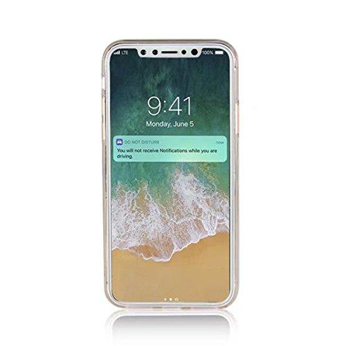 iPhone X Coque, iPhone X Boîtier en gel doux, Lifetrut [Ring Kickstand] Briller Éclat Cristal Bling Retour Doux TPU Étui de Protection pour iPhone X 5.8''[Or] E201-Noir