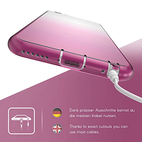 Urcover® Apple iPhone 6 / 6s Hülle Regenbogen Schutz-Hülle TPU in Schwarz Silikon-Hülle Back-Case Rainbow Cover Ultra Slim Schale light weight Tasche transparent Smartphone Zubehör Cover Pink
