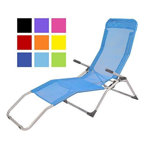 TPFGarden Gesundheitsliege Kippliege Relaxliege ATHEN klappbar + aus Stahl + wetterfest | Farbe: Hellblau | Hohe Qualität