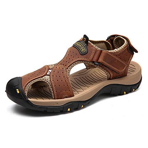 Uomini all'aperto punta chiusa sandali estivi classici casual spiaggia scarpe in pelle flats scivolare su scarpe da pescatore traspirante