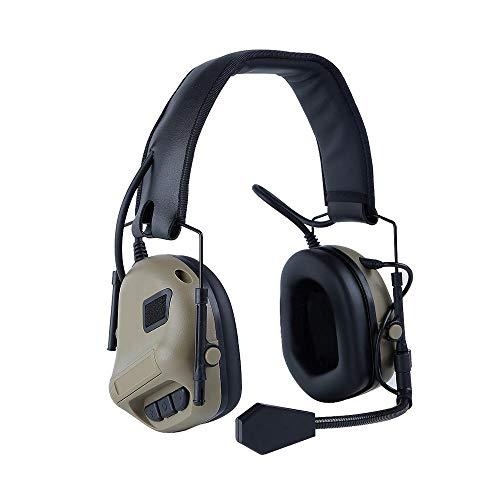 TEEPAO Elektronischer Gehörschutz mit Mikrofon, Geräuschreduzierung, Geräuschverstärkung, Headset/Kopfhörer NRR 21 DB Sport Arbeit Outdoor Jagd Schutz Werkzeug, Mud Color