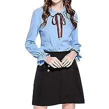 Luckycat Camisa de Mujer de la Raya del botón del Arco de la Raya de la