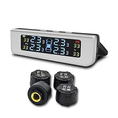 MiCarBa TPMS Reifendruckkontrollsystem, solarbetrieben, universeller Reifendruck-Monitor mit 4 externen Sensoren in Echtzeit, Anzeige von 4 Reifendruck und Temperatur TPMS für Auto SUV Van -