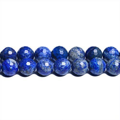 Strang 45+ Blau Denim Lapislazuli 8mm Facettiert Rund Perlen - (CB31095-3) - Charming Beads
