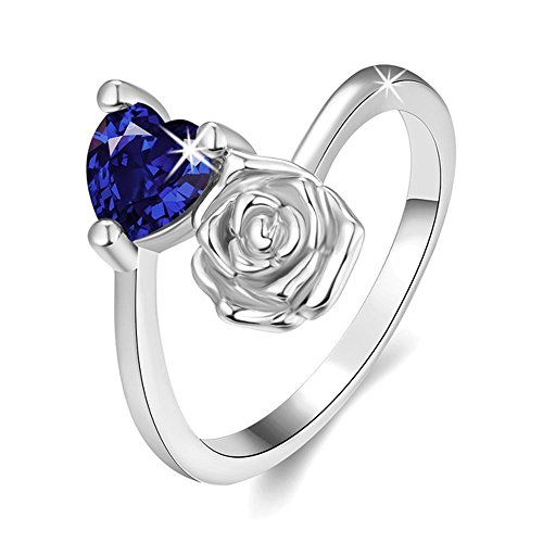 Via Mazzini Platinum Plated Royal Blue Top Quality Swiss Zirconia Crystal Rose Heart Ring For Women And Girls (Ring0236)