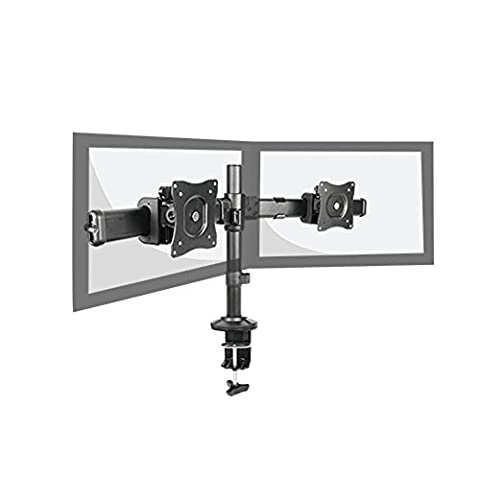 DUAL ARM LCD MONITOR STAND ADJUSTABLE DESK MOUNT BRACKET TILT AND SWIVEL FITS UP TO 60