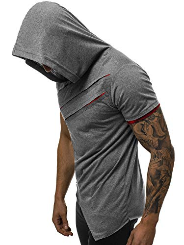 OZONEE Mix Herren Tanktop Shirt Tankshirt T-Shirt Kapuzenpullover Unterhemden Ärmellos Muskelshirt Fitness Sommer Basic Kurzarm 777/1245BO DUNKELGRAU-ROT M