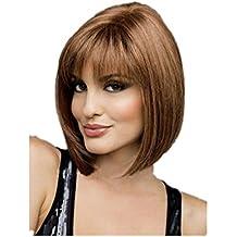 Meylee Pelucas Moda 30cm recto corto peluca de pelo para mujeres 3 gradiente de Color ,