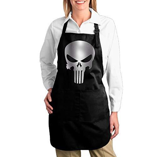 HTETRERW Punisher Skull Pocket Kitchen Apron (Einfach Punisher Kostüm)