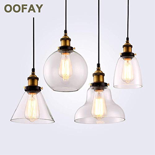 C-LT Deckenleuchte Retro Vintage Pendelleuchte Klarglas Lampenschirm Loft Kronleuchter Licht E27 110 v 220 v für Esszimmer Haushalt Dekoration Lampe Btransparent, Transparent