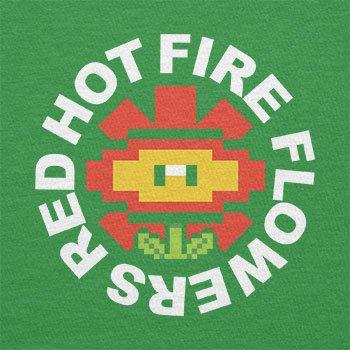 Texlab–Red Hot Fire Flowers–sacchetto di stoffa Verde