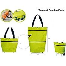 Yalulu - Carrito de la compra plegable convertible en cesta o bolsa de mano, con ruedas extraíbles