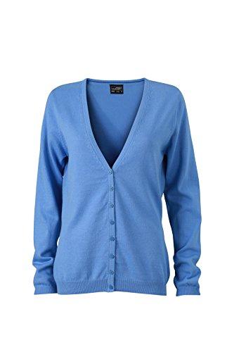 James & Nicholson Damen V-Neck Cardigan Strickjacke Blau (Glacier-Blue) 40 (Herstellergröße: XL)