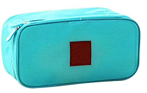 Remeehi multifunzionale Reggiseno Wash Bag Protable Underwear Storage Bag Organizer da viaggio cosmetici trucco borsa beige Light Blue